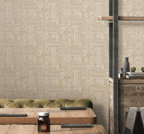 3703 Serie | Papel pintado moderno estilizado abstracto del modelo del tejido