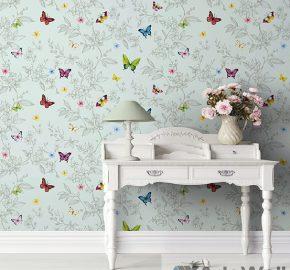 1606 Serie  Papel pintado de mariposas y flores