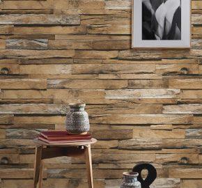 Serie 1612 | Papel tapiz volumétrico de azulejos de madera