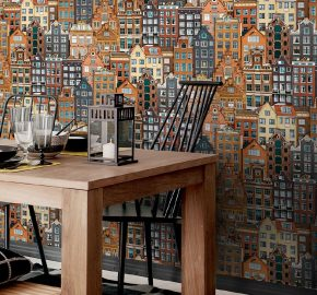 Serie 1618 | Amsterdam casas inspiradas moderno patrón de papel tapiz