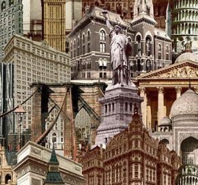 Serie 4705 | Papel pintado estilizado motivo ciudad arquitectura