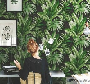 Serie 4714 | Fondo de pantalla inspirada en las hojas de palma y la jungla tropical