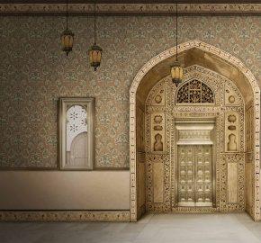 Serie 6808 | Damasco rico ornamento de papel tapiz
