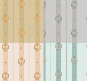 7804 Serie Papel pintado a rayas con adorno discreto neoclásico