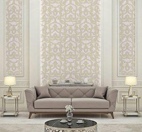 Serie 7810  Papel pintado del ornamento de damasco neoclásico negrita