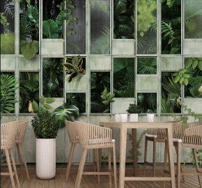 Serie M706 | Fresco verde hojas tropicales mural fotomural tapiz de pared